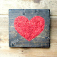 Wood Heart Wall Art - 6x6 pine heart, red glitter, valentines day gift,wedding decor,mantle,love,rustic decor,shabby chic, anniversary gift,