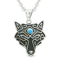 Celtic Wolf All Seeing Third Wisdom Eye Protection Amulet Simulated Turquoise Pendant 22 inch Necklace