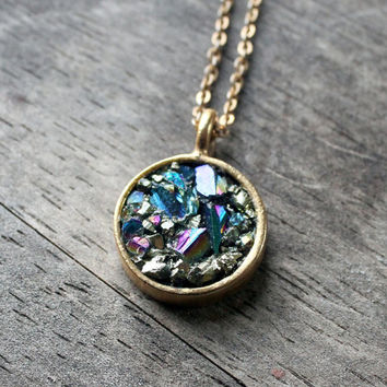 titanium aura quartz peacock pyrite stone pendant statement necklace rainbow crystal drop small gold filled chain raw gemstone free shipping