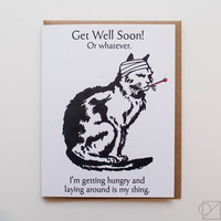 Sick Kitty Get Well Soon Greeting Card