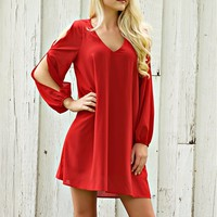 Sheer long sleeve dress with a slit in the sleeves.