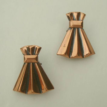 RENOIR Copper Wheat Sheaf Clip Earrings Vintage Jewelry