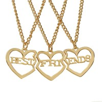 2018 new three best friend alloy necklace forever three sets of letters heart-shape couple girlfriends best friend pendant gift