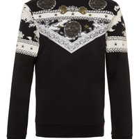 Black Baroque Placement Printed Sweatshirt - TOPMAN USA