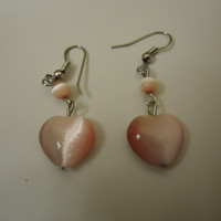 Designer Fashion Earrings Hearts Drop/Dangle Metal Female Adult Pinks/Silver -- Preowned