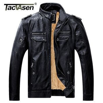 TACVASEN Thick Winter Men Tactical PU Leather Jacket Military Style Jacket