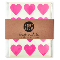Heart Stickers, Neon Pink, Set of 144, Stickies