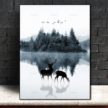 Nordic  Wall art  canvas painting deer Picture canvas Picture decor poster art print  Wall Picture decration for living room