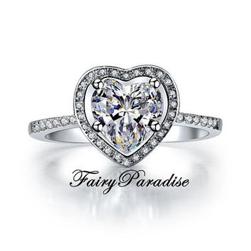 2 Ct Heart Cut man made Diamond Halo Setting Engagement Promise Anniversary Cocktail Ring with gift box - best for Valentines day
