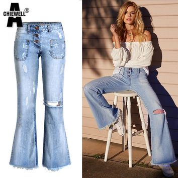 ACHIEWELL Plus Size Autumn American Vintage Women Denim Jeans Ripped High Waist Wide Ankle Length Women Flare Denim Jeans