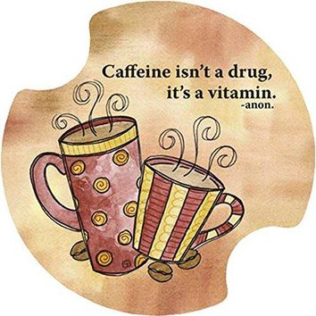 Thirstystone Caffeine is a Vitamin Car Cup Holder Coaster 2Pack