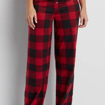 ultra soft fleece sleep pant in holly red buffalo plaid | maurices