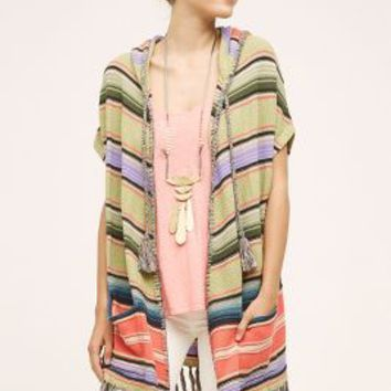 Moth Calexico Fringe Poncho in Green Motif Size: