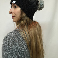 Knit Slouchy Hat Beanie With Pom Pom Ombre Black Charcoal Gray Tweed Warm And Cozy