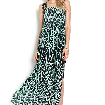 Diamond Cut Out Strap Maxi Dress