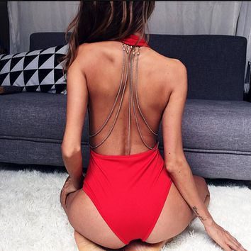 Metal chain V-collar back pure color show thin bodysuit romper