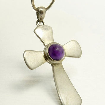Vintage Sterling Silver Amethyst Cross Pendant Necklace