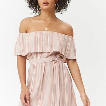 Flounce Striped Mini Dress