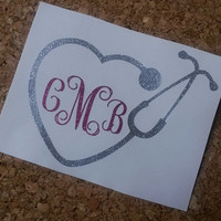 Stethoscope Decal | Stethoscope Monogram Decal | Stethoscope | Decal | Nurse Decal | Glitter Decal | Sticker | Car Decal | Nurse | monogram