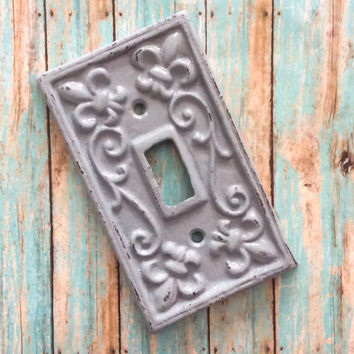 Light Switch Cover, Metal Light Switch Cover, Fleur de lis Light Switch, French Country Cottage, Ornate Switch Cover, Distressed