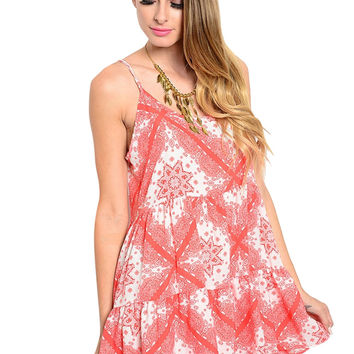 Sleeveless Mix Print Babydoll Sun Dress