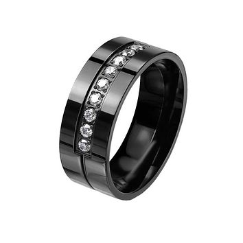 Jet Black Shine - Men's Stainless Steel Black IP Clear CZ Ring