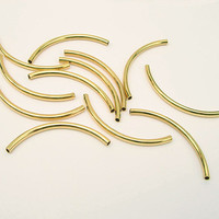 50x3mm Curved Tubes Gold Plated Brass 10 Pieces  M9
