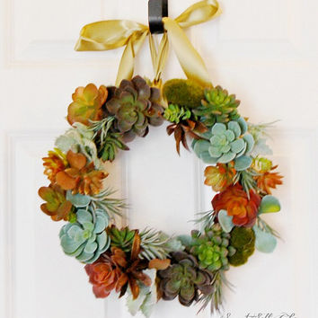Succulent Wreath, Burlap Wrapped Succelent Wreath, Front Door Wreath, Indoor Wreath, Year Round Wreath