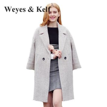 Weyes & Kelf Houndstooth Double Breasted Wool Coat Womens 2017 Winter Thick Long Plaid Woolen Overcoat Trench Coat For Women