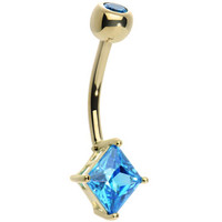 14KT Yellow Gold Blue Topaz Princess 6mm Cubic Zirconia Belly Ring | Body Candy Body Jewelry