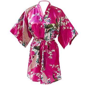 Partiss Women's Short Style Kimono Robes Peacock and Blossoms Silk Nightwear