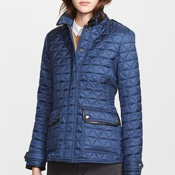 Women's Burberry Brit 'Lunesbury' Leather Trim Quilted Jacket,