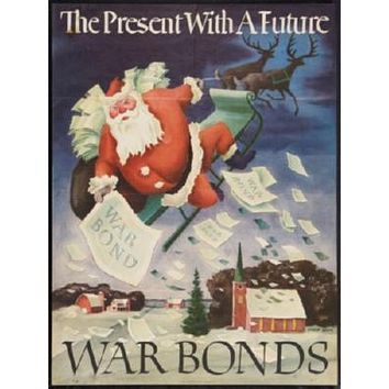 War Propaganda Santa Claus War Bonds poster Metal Sign Wall Art 8in x 12in