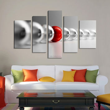Gray & Red Balls Canvas Print Ready to Hang  5 Panels Stretched on Deep 3cm Frame | Canvas Photo Print | Canvas Wall Art