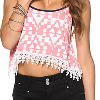 Love, Fire Tribal Print Crochet Hem Trop Tank Top
