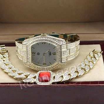 Iced Out 14K Gold PT Oval Shape Watch Ruby Cuban Chain Bling Bracelet Set F66G
