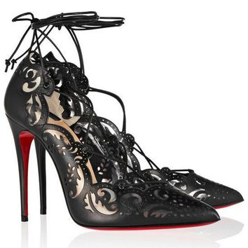 CL Christian Louboutin Fashion Pointed Toe Hollow Out Heels Shoes