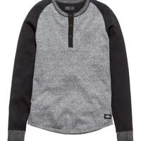 H&M - Fine-knit Henley Top - Dark gray melange - Men