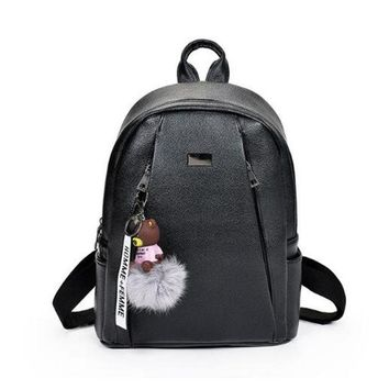 School Backpack trendy PU Leather Women Backpack Solid School Bags For Teenagers Girls High Quality Travel Bags With Bear Pendant Female Bags mochila AT_54_4