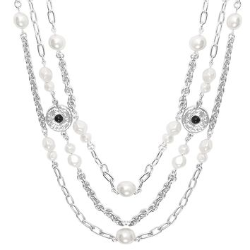 MONIKA TRIPLE STRAND PEARL NECKLACE IN SILVER