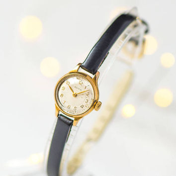 Women wristwatch very small Volga. Gold plated women's watch sunburst face. Classic lady timepiece gift jewelry. New premium leather strap