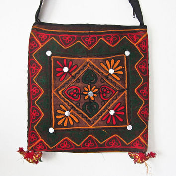 Vintage Indian handcrafted embroidery patch work mirror work, Indian cotton stain dye shoulder jhola, purse bag 048