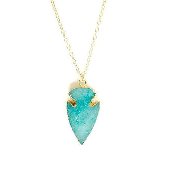 14kt Gold filled Sky Blue Druzy Arrowhead Necklace. Tribal Blue Arrowhead Druzy Gem Crystal Pendant. Gift for Her