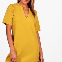 Becky Formal Boxy Clean Cut Shift Dress | Boohoo