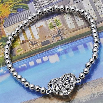 Rhodium Layered Women Heart Fancy Bracelet, with White Cubic Zirconia, by Folks Jewelry