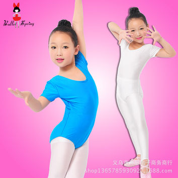 Girls Ballet Bodysuit Children Blue White Dance Leotard Short Sleeved Gymnastics Wear