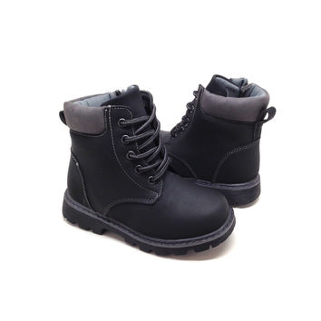 Girls Black Boots with Side Zipper