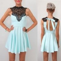 LACE HIGH NECKLINE CUT OUT BACK BACKLESS SKATER DRESS