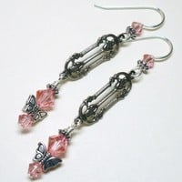 Swarovski 5328 Rose Peach Crystal and Butterfly Dangle Earrings
