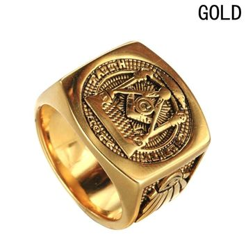 Stainless Steel Freemason Gold/Silver Ring Men's Masonic Rings for Men